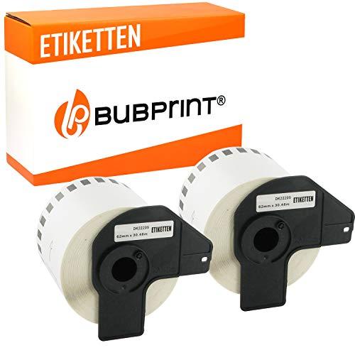 2x Bubprint Rollos de Etiquetas Compatible para Brother DK-22205 para P-Touch QL500 QL500BW QL550 QL560 QL570 QL700 QL710 QL710W QL720NW QL800 QL810W QL820 QL820NWB QL820NW QL1060N QL1100