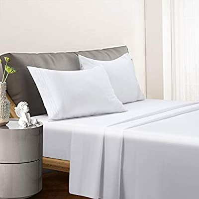 """FRAYLON 4 Piece Bed Sheet Set-Fits College Dorm Room Bed Sheets - Hotel Luxury Bed Sheets-Extra Soft&Cooling Sheets-1800 Brushed Microfiber with 14"""" Deep Pocket (White, Queen)"""