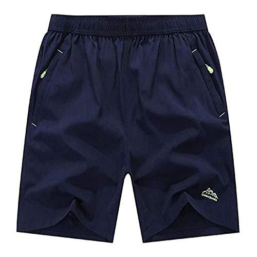 donhobo Herren Shorts Outdoor Sports Quick Dry Gym Laufshorts Jogging Hose Kurze Sporthose mit Reißverschlusstaschen (Dunkelblau,L)