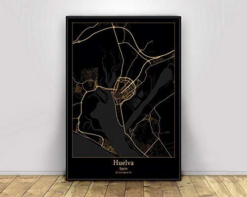 Cuadro En Lienzo,Huelva España Ciudad Ciudad Mapas Negro Oro Mapa Sin Marco Pintura Mural, Arte De La Pared sobre Lienzo Cartel Moderno, Sala De Estar De Oficina Decoración del Hogar, 70 * 100