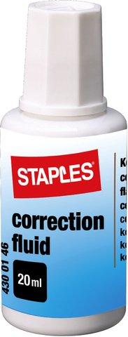 STAPLES® Korrekturflüssigkeit, 10 x 20 ml, Einweg, Auftrag mit: Pinsel, weiß (10 Stück), Sie erhalten 1 Packung á 10 Stück