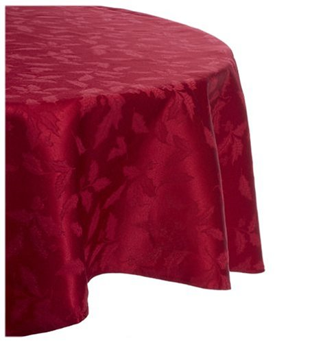 (Red) - Lenox Holly Damask Table Linens - Red 177.8cm Round Tablecloth