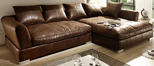 Reboz Big Sofa Ecksofa Vintage Braun Schwarz Ausrichtungen (Vintage Hellbraun, rechts)