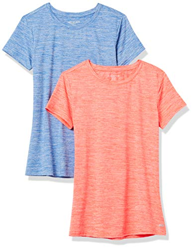 Amazon Essentials Women's 2-Pack Tech Stretch Short-Sleeve Crewneck T-Shirt, -fiery coral heather/cobalt heather, XX-Large