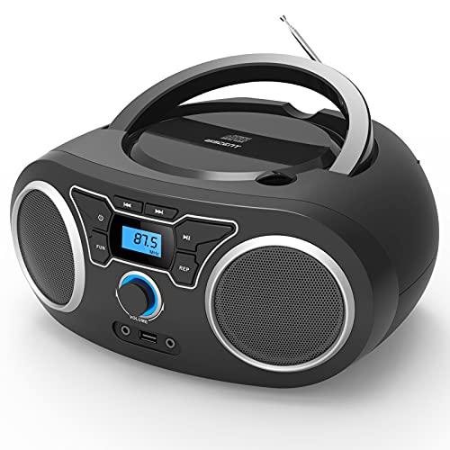 CD-Radio Tragbare CD-Player-Boombox mit UKW-Stereo-Radio, Bluetooth, CD-R/CD-RW/MP3/WMA-Wiedergabe, USB-Anschluss, AUX-Eingang, Kopfhöreranschluss