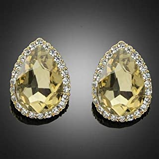 Yellow Crystal rhinestone Water-drop Shape Stud Jewelry Earring