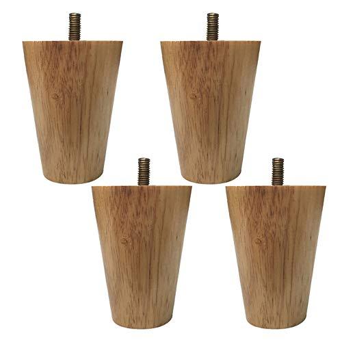 4 Stück Ersatz Möbelfüße, DIY Konisch Massivholz Möbelbeine, für Sofa/Bett/Schrank/Stuhl M8 Schraubenbolzen Mit Anti-Rutsch-Auflage<br>(Color:wood,Size:8cm)