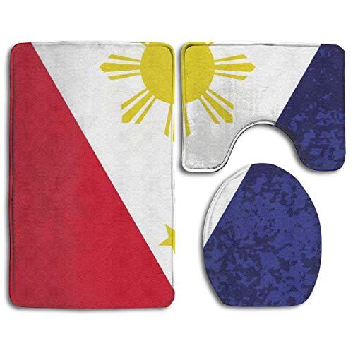 RedBeans Anti-Rutsch-Badteppich-Set, 3-teilig, Flanell, Badezimmerteppich-Set, Philippinische Flagge, weicher WC-Vorleger, rutschfest, Duschmatte & WC-Decken-Vorleger Set