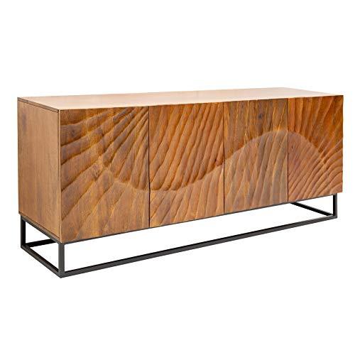 Invicta Interior Massives Sideboard Scorpion 177cm braun Mangoholz aufwendige 3D Schnitzereien Kommode Holzkommode