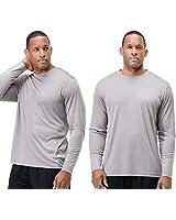DEVOPS Men's 2 Pack UPF 50+ Sun Protection Long Sleeve Dri Fit Fishing Hiking Running Workout T-Shirts (3X-Large, Grapite)