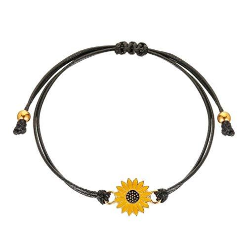 # 2944 Pulsera de Girasol Simple y Fresca Pulsera de Tela Ajustable (Negro + Amarillo)
