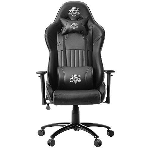 One Gaming Chair Pro Black - Ergonomischer Gamingstuhl - Verstellbare Armlehne & Höhe - Inkl. Kissen - Maximalbelastung 130 Kg - Chefsessel - Bürostuhl - Schreibtischstuhl