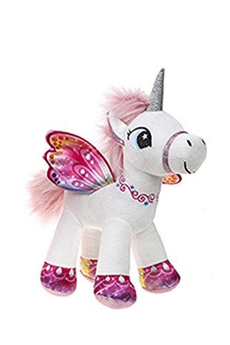 Barrado Peluche Unicorno Alato in Piedi - Supersoft qualità (Bianco/Rosa, 34cm)