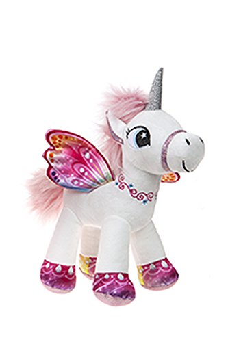 Unicornio con alas de pie 34 cm color blanco/rosa - Calidad supersoft