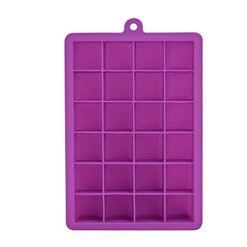 ShareWe Bac à Glaçons en Silicone 24 Cubes approuvé par la FDA souple et permet de démouler facilement les glaçons (Violet)