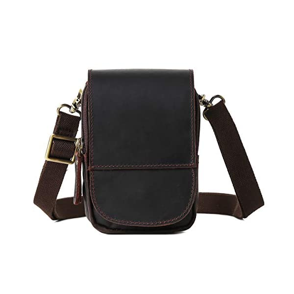 41QFLR9mN4L. SS600  - Leathario Bolso Cinturón de Cuero de bandorela para Hombre-Riñonera Piel para Teléfono de 4~6 Pulgada Negro01