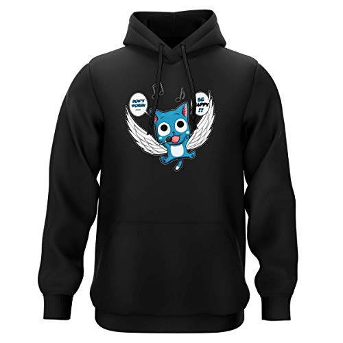 Okiwoki Sweat-Shirt à Capuche Noir Parodie Fairy Tail - Happy - Don't Worry. Be Happy !! (Sweatshirt de qualité Premium de Taille S - imprimé en France)