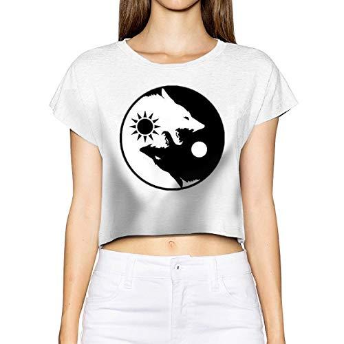 Yin Yang Wolves Women Basic Short Sleeve Crop Top Cotton Scoop Neck Shirt White