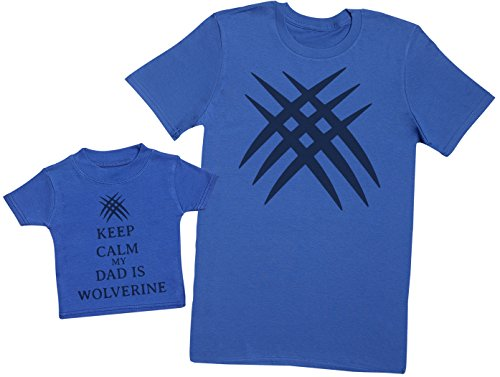 Keep Calm My Dad is Wolverine - Ensemble Père Bébé Cadeau - Hommes T-Shirt & T-Shirt bébé - Bleu - Small & 2-3 Ans