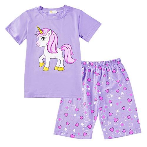 Pijamas Unicornio Niña Algodon 100% Conjunto Pijama Dos Piezas Niño Verano Manga Corta Ropa Set T Shirt y Pantalones Cortos