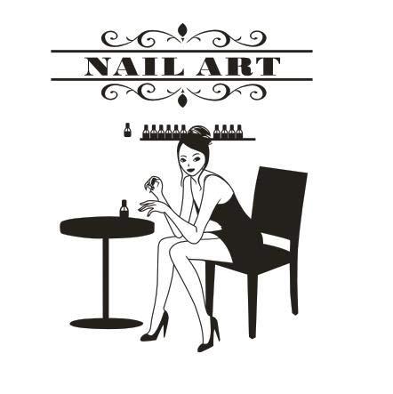 zzlfn3lv Nail Salon Sticker Mural Nail Bar Gril Salon De Beauté Wall Art Sticker Signe Personnalisé Manucure Ongles Boutique Fenêtre en Verre Décor 70 * 56cm