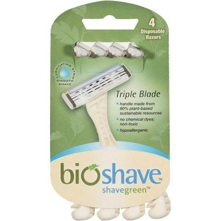 Bioshave Triple Blade Razors - 24 Count, Biodegradable Handle, Disposable Razors