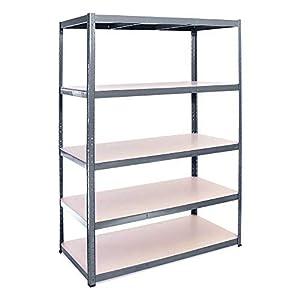 Estantería metálica de almacenamiento industrial resistente con 5 estantes- Pack individual - ideal para almacén, garaje, trastero, sótano - 180cm x 120cm x 60cm - 5 años de garantía