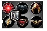 Justice League Movie Magnets or Pins DC Comics Superhero Symbols Set of 7 Batman Superman Wonder Woman Aquaman Flash Cyborg (1.75' Round, Pinback)