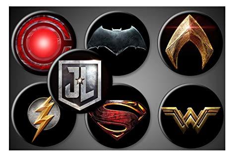 Justice League Movie Magnets or Pins DC Comics Superhero Symbols Set of 7 Batman Superman Wonder Woman Aquaman Flash Cyborg (1 Inch Round, Magnets)
