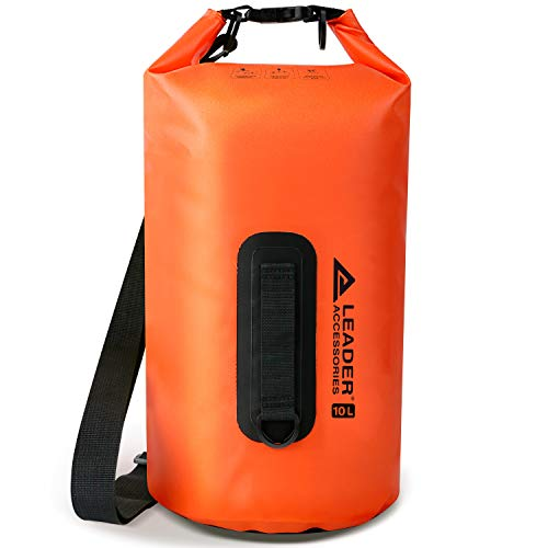 Leader Accessories New Heavy Duty Vinyl Waterproof Dry Bag for Boating Kayaking Fishing Rafting Swimming Floating and Camping (Orange, 55L)