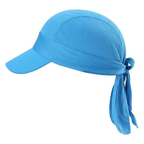 Arcweg Bandana Cap Kopftuch Mit Schirm Atmungsaktiv Pirat Kappe UV Schutz Verstellbar Bikertuch Radsport Mützen Schnelltrockned Blau