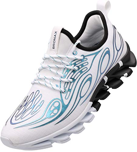BRONAX Hombre Zapatos para Correr en Montaña y Asfalto Aire Libre y Deportes Zapatillas de Gimnasio Trail Running Padel Deportivas Calzado Blanco Azul 44