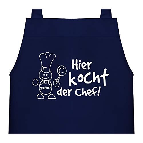 Shirtracer Kinderschürze mit Motiv - Hier kocht der Chef - 60 cm x 50 cm (H x B) - Navy Blau - kochschürze kinder - X978 - Kochschürze und Schürze für Kinder