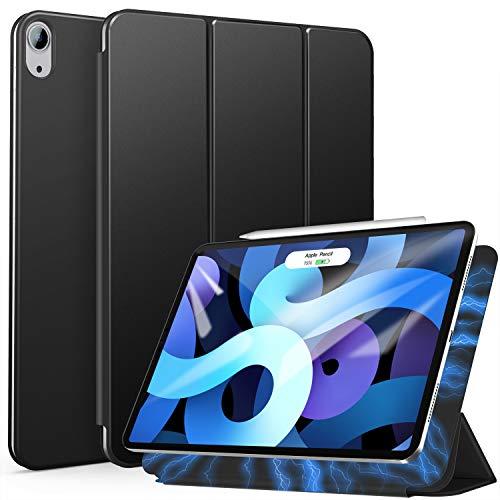 ZtotopCase Magnetische Schutzhülle für iPad Air 4 10.9, Ultra Slim Smart Magnetic Back Trifold Stand Schutzhülle mit Auto Wake/Sleep, für iPad Air 4 10.9 Zoll 2020 & iPad Pro 11 Zoll 2018, Schwarz