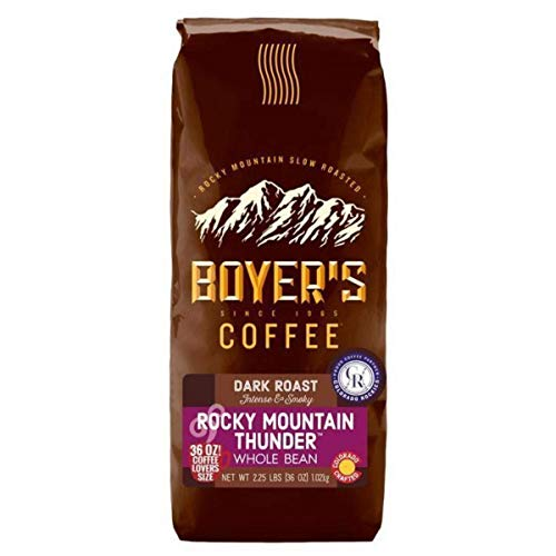 Boyer's Coffee, 36 oz Bag, Pick Your Flavor With Curated Recipes by Beying Malleyteen (Rocky Mountain Thunder, Whole Bean)