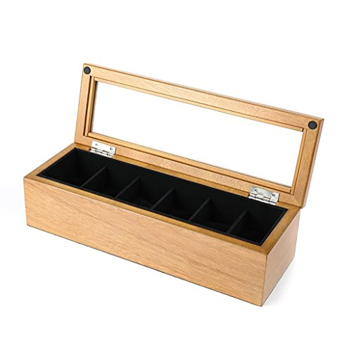 SH-snh SH-snh Wooden Watch Box, Display-Ständer/Box Set/Aufbewahrungsbox für Schmuck Uhren, Armband Collection Box 6 Grids Watch Display Box mit Glasdeckel