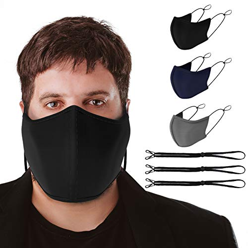 TUFF Face Mask Black Adult XL Large Size 3 Pack- C Shaped Design Making Breathing Easier and Comfortable on Skin with Lanyard - USA Made (Extra Large 3 Pack)