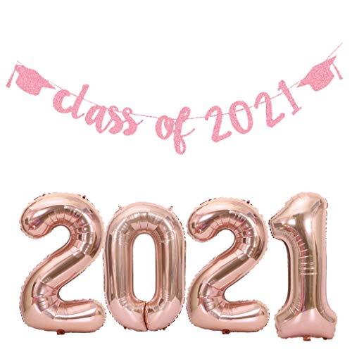 Glückwunsch abschluss deko Set Class of 2021 Girlande Banner rosegold abschluss Girlande + 32 Inch roseGold Zahlen 2021 Folien Ballon XXL für prüfung bestanden deko 2021 Schulabschluss Abi