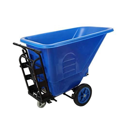 XLOO Zweirad-Schubkarre/Gartenwagen, Hochleistungs-Nutzfahrzeug, Rollout-Hochleistungs-Recyclingbehälter auf Rädern, Verdicktes Außengehäuse, Stahlrahmen mit Bremssystem, zum Ausgießen geneigt. XL