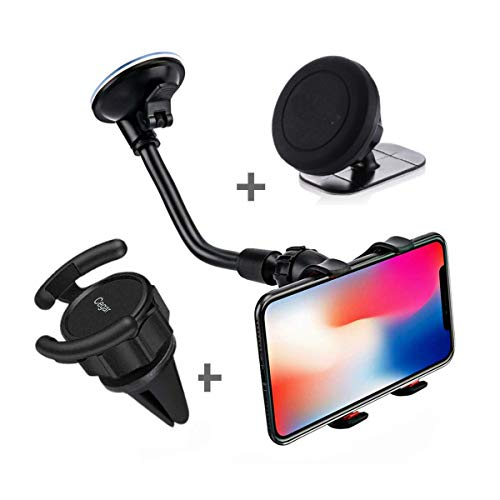 Cegar Universal Magnetic Cell Phone Mount Holder 360 Rotation Air Vent Windshield Dashboard Car Mount Perfect for GPS Navigation Compatible with All Smartphones