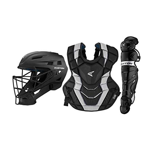 Easton Elite X Baseball Catchers Equipment Box Set | Youth | Navy/Carolina Blue | 2020 | Small Helmet | 15 in Chest Protector + Commotio Cordis Foam | 14 in Leg Guards | NOCSAE Approved All Levels