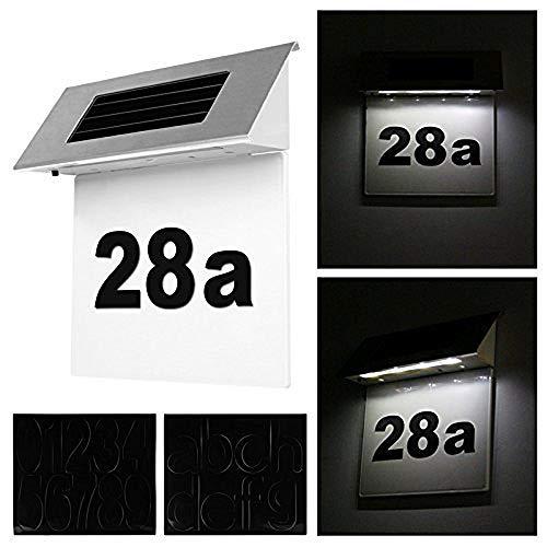CHZIMADE Solar-Hausnummern-Lampe, Edelstahl, dreieckig, Hausnummer 4 LED