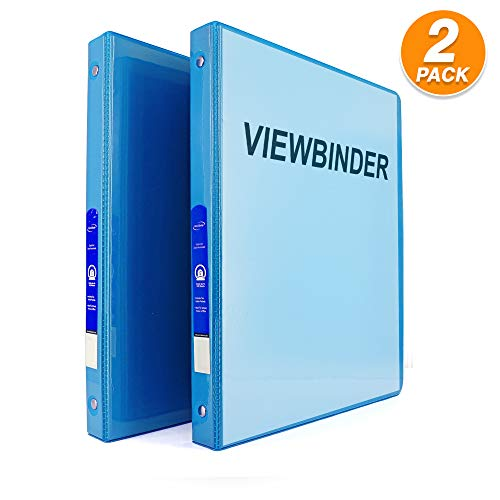 """3 Ring View Binder 1/2"""" Inch with 2 Pockets Ideal for Office, School, Home for organizing Projects, Presentations and More Available in Cyan (Pack of 2) by - Emraw"""