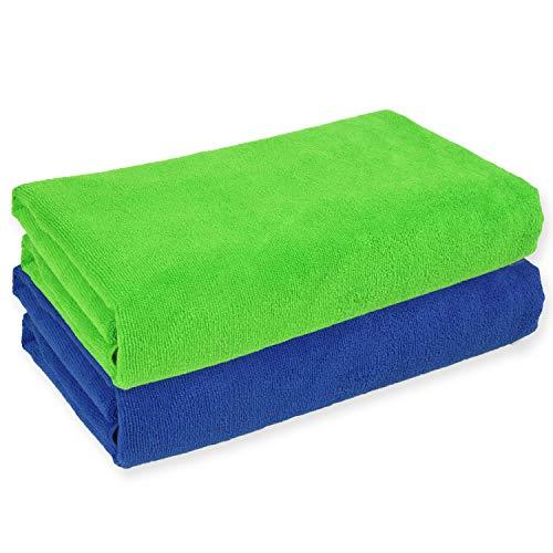 Belmalia 2 Toallas de Microfibra XXL Muy Absorbente y de Secado rápido de 180 x 75 cm Azul + Verde