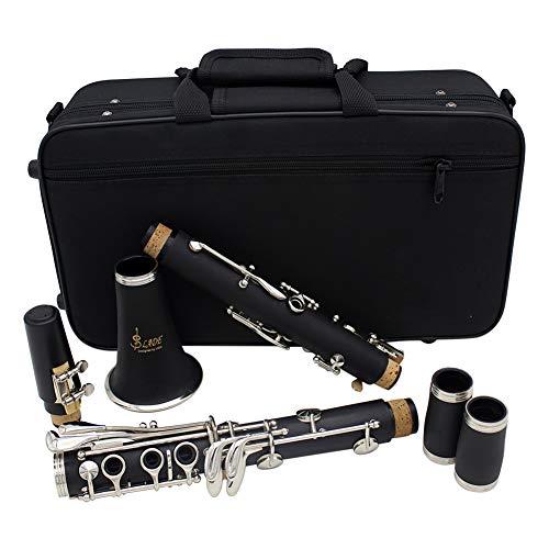 BLKykll Zwart B Platte klarinet, Zwart 17-Key Bakeliet Vernikkeld Professioneel Spelend Wind Instrument met Een Riet Clip, Schroevendraaier, Vierkante Doek, Band