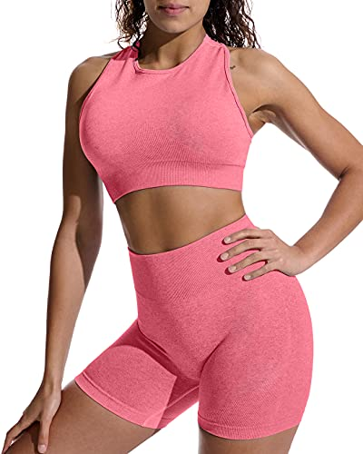 OYS Workout Sets for Women 2 Piece Outfits Seamless High Waisted Yoga Shorts Running Sports Bra Clothes Pink