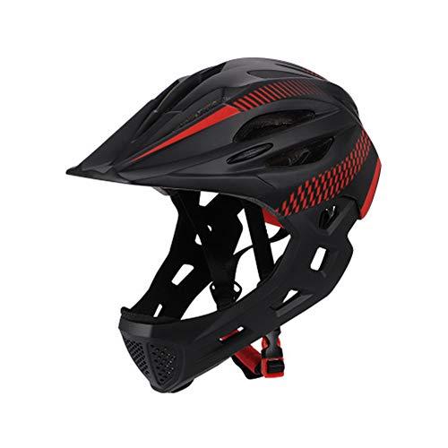 ETbotu - Casco di sicurezza per mountain bike, bici da strada, rimovibile, per bambini, con fanale posteriore, nero rosso, Tour de tête (42-52 cm)