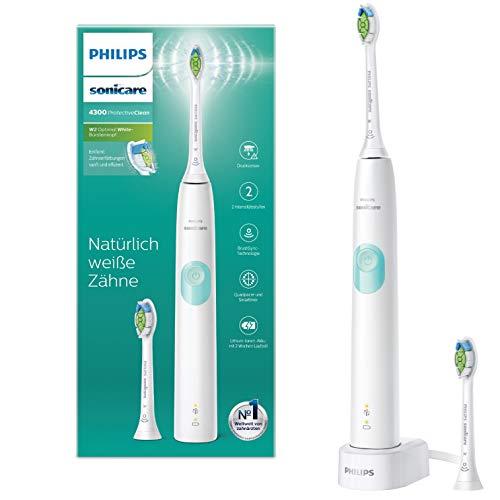 Philips Sonicare ProtectiveClean 4300 HX6807/51 - Cepillo de dientes sónico con programa de limpieza de limpieza, control de presión y temporizador, color blanco