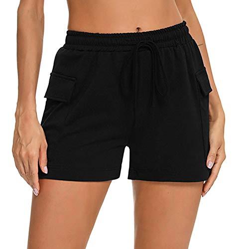Aibrou Pantalon Corto Chandal Mujer Pantalón de Algodón Deportivo Verano Pantalón Corto de Pijama Mujer Pantalon Corto Deporte con Bolsillo Pantalón Casual Yoga Jogging Short Negro