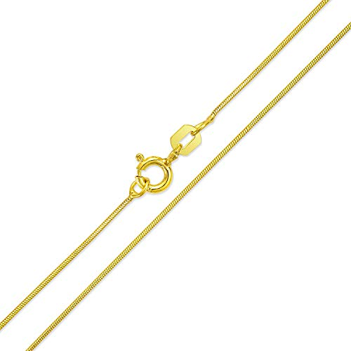 Bling Jewelry Thin Snake Link Chain 1 MM 010 Gauge for Women Necklace 14K Gold Plated 925 Sterling Silver Made in Italy 16 Inch